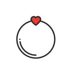 wedding ring line icon with heart love sign and vector image