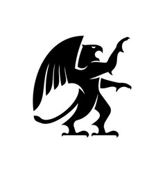 Winged griffin isolated mythical beast silhouette vector