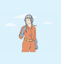 woman working as pilot concept vector image