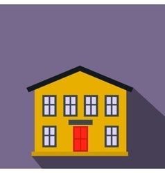 Yellow two-storey house flat icon vector image