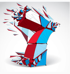 3d low poly colorful number 7 with black vector image
