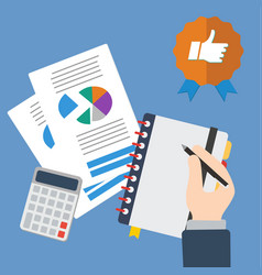 business hand writing with sheets and calculator vector image vector image