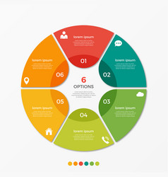circle chart infographic template with 6 options vector image vector image
