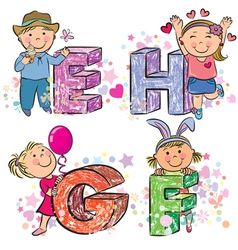 Funny alphabet with kids EFGH vector image