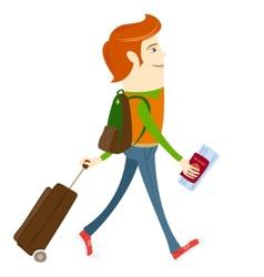 Hipster-traveler walking and holding passport vector