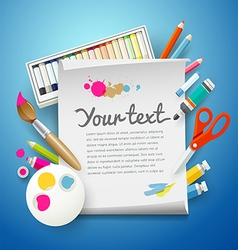 School Supplies Art and empty white paper vector image vector image