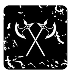 Two battle axes icon grunge style vector image