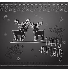 Hand drawn Christmas deers and handwritten words vector image vector image