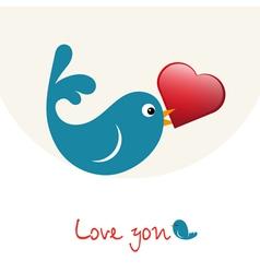 Nice enamoured birdie with heart vector image vector image