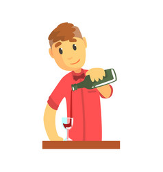 young bartender man character standing at the bar vector image