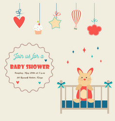 baby shower invitation card with little rabbit in vector image
