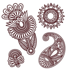 Flowers and Paisley Doodle Design Elements vector image vector image