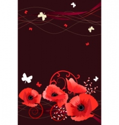 frame with butterflies and poppies vector image vector image