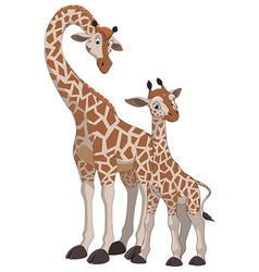 Giraffe with cub vector