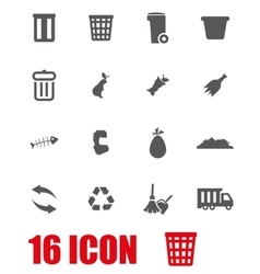 grey garbage icon set vector image