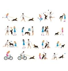 Professional dog walking vector image vector image