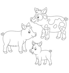 small piglet pig and hog vector image