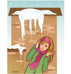Young woman shows fear for icicles on the roof vector image vector image