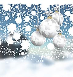 Christmas baubles on a defocussed winter landscape vector image