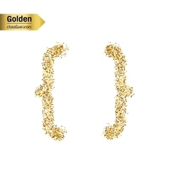 Gold glitter icon of curly bracket isolated vector image