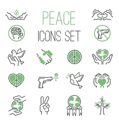 Peace icons set vector image