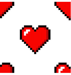 pixel heart love seamless pattern color icon vector image