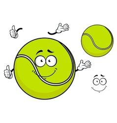Smiling green cartoon tennis ball vector image