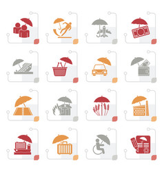 stylized insurance risk and business icons vector image vector image