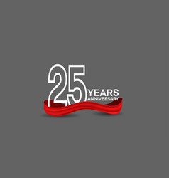 25 years anniversary line style white color vector