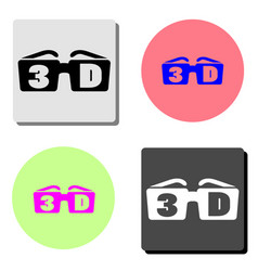 3d glasses flat icon vector image