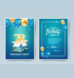 78th years birthday invitation double card vector