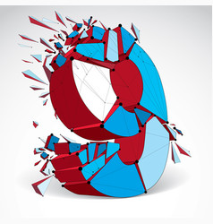 abstract low poly wrecked number 9 with black vector image