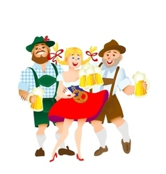 Bavarian men and woman with a big glass of beer vector