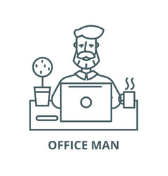 Beard man working on table with notebook line icon vector