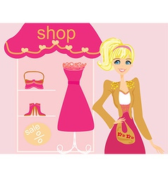 beautiful women Shopping vector image vector image