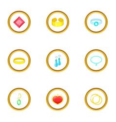 Bijou icons set cartoon style vector