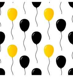 Black and gold party balloons seamless pattern vector