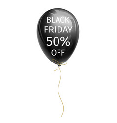 black balloon with black friday 50 percent off vector image