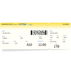 boarding pass ticket travel or journey concept vector image