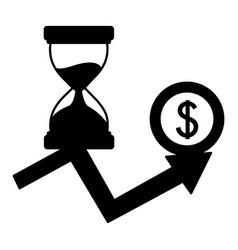 Business hourglass arrow growth money coin vector