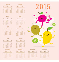 Calendar 2015 fruit cute cartoon mango cherry kiwi vector