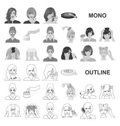 Care of hair and face monochrom icons in set vector