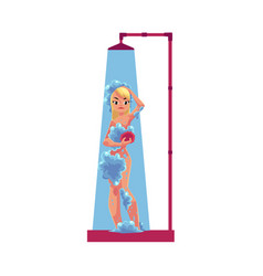Cartoon adult woman taking shower isolated vector