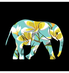 Cartoon elephant The silhouette of the elephant vector image