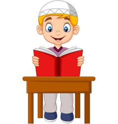 cartoon muslim boy reading a book vector image