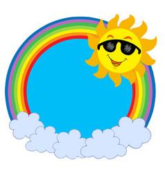 cartoon sun with sunglasses in raibow circle vector image