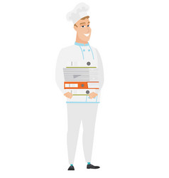 chef cook holding pile of folders vector image
