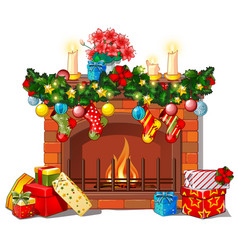 christmas sketch with the fireplace and vector image