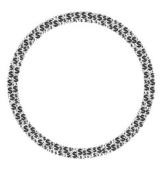 Circle bubble collage of dollar and dots vector