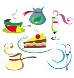 coffee tea elements vector image